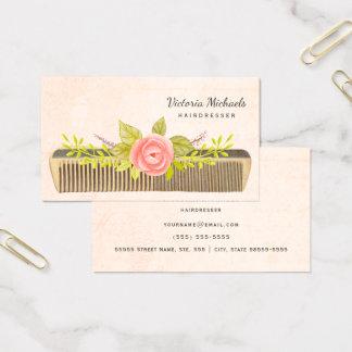 Vintage Comb and Roses For Elegant Hairdresser Business Card