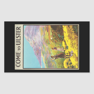 Vintage Come to Ulster British Isles Travel Poster Rectangular Sticker