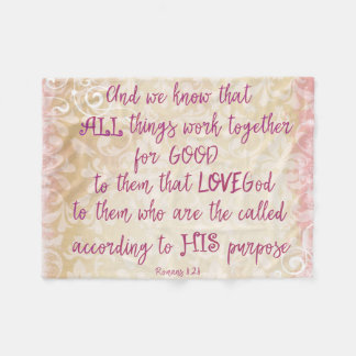 Vintage Comfort: All Things work Together Verse Fleece Blanket