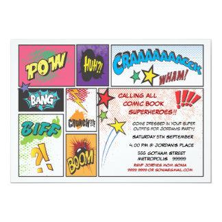 """Vintage Comic Book Strip Super Hero  Party Invite 5"""" X 7"""" Invitation Card"""