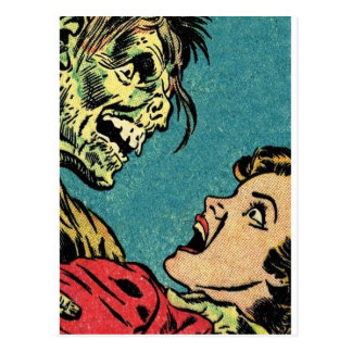 vintage comic book villan postcard