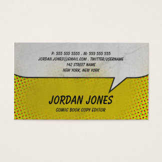Vintage Comic Book Yellow Halftone Business Card