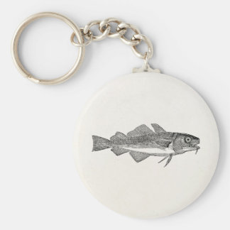 Vintage Common Cod Fish - Aquatic Fishes Template Key Ring