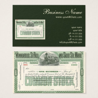 Vintage Common Stock Certificate, Business Finance Business Card