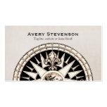 Vintage Compass Beige Linen Look Finance Pack Of Standard Business Cards