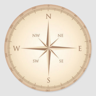 Vintage compass classic round sticker