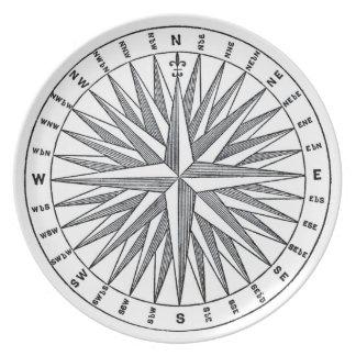 Vintage Compass Explore Travel Decorative Plate