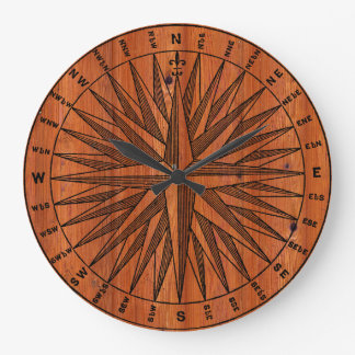 Vintage Compass Pine Wall Clock