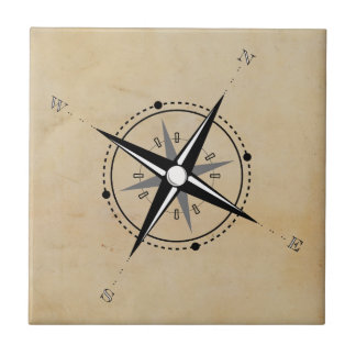 Vintage Compass Rose Adventure Exploration Tile