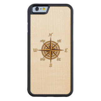 Vintage Compass Rose Carved Maple iPhone 6 Bumper Case