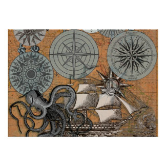 Vintage Compass Rose Octopus Art Print Drawing