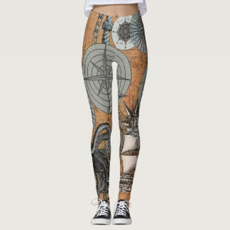 Vintage Compass Rose Octopus Art Print Drawing Leggings