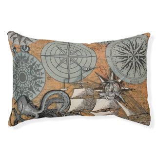Vintage Compass Rose Octopus Art Print Drawing Pet Bed