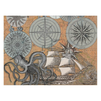 Vintage Compass Rose Octopus Art Print Drawing Tablecloth