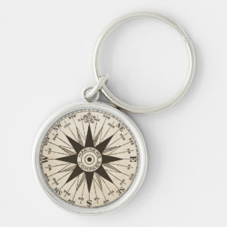 Vintage Compass Rose Silver-Colored Round Key Ring