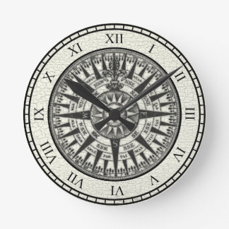 Vintage Compass Rose Sun Wall Clocks
