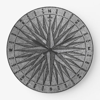 Vintage Compass Silver Large Clock