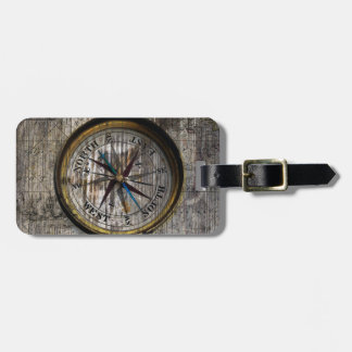 Vintage Compass Wood Luggage Tag