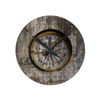 Vintage Compass Wood Wall Clock