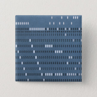 Vintage Computer Punched Card 15 Cm Square Badge