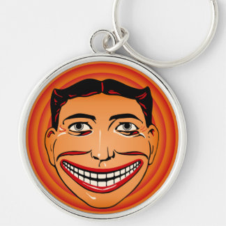 Vintage Coney Island Funny Face Tillie Silver-Colored Round Key Ring
