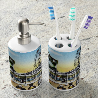 Vintage Coney Island scoota boat wonder wheel Soap Dispenser And Toothbrush Holder