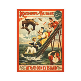 Vintage Coney Island Waterslide Poster Canvas Print