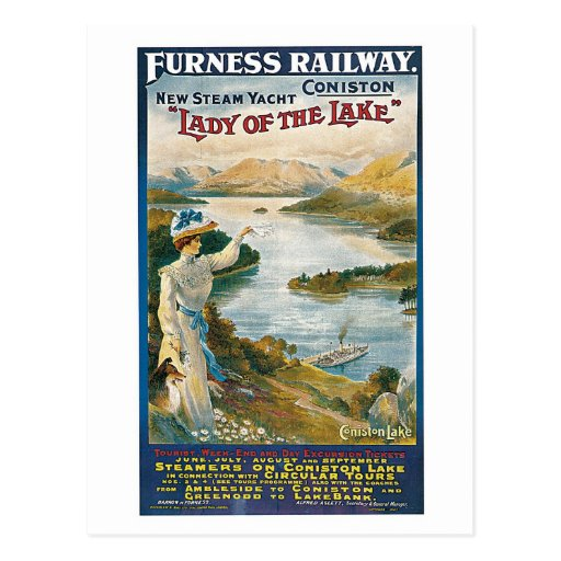 Vintage Coniston Water, Furness railway travel ad Postcards