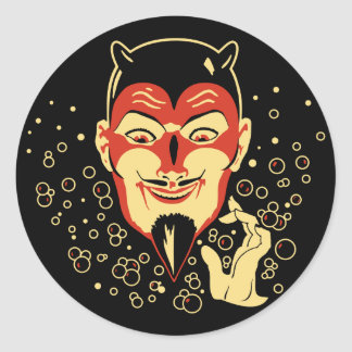 Vintage Conjuring Devil Halloween Sticker