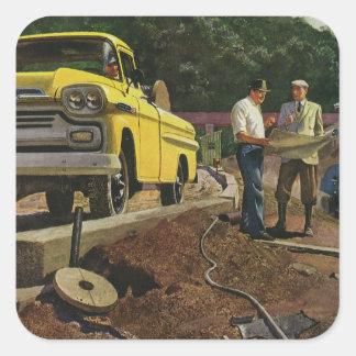 Vintage Construction Business Architect Contractor Square Sticker