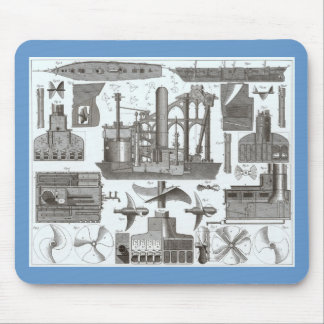Vintage Construction of Steamships 1850 Mouse Pad