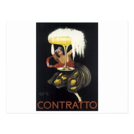 Vintage Contratto Champagne Poster Art print Postcard