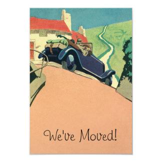 Vintage Convertible Car Change of Address 9 Cm X 13 Cm Invitation Card