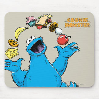 Vintage Cookie Monster Juggling Mouse Pad