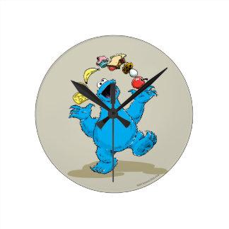 Vintage Cookie Monster Juggling Round Clock