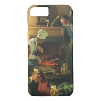 Vintage Cooking Steaks Drinking Beer, Family Party iPhone 7 Case