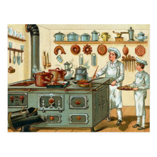Vintage Cooks in the Kitchen Postcard