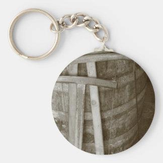 Vintage cooperage tools basic round button key ring