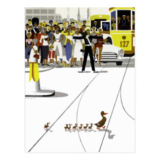 Vintage Copenhagen Denmark Ducks Crossing Road Postcard