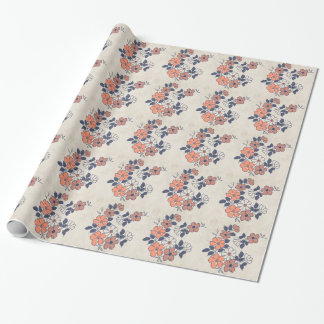 Vintage Coral and Navy Floral Wedding Wrapping Paper