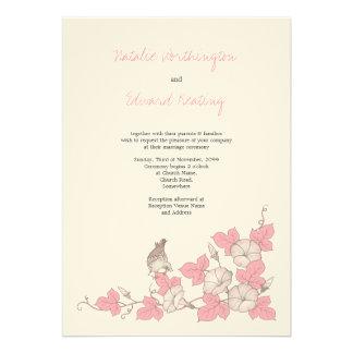 Vintage Coral Bird Flowers Wedding Invitation