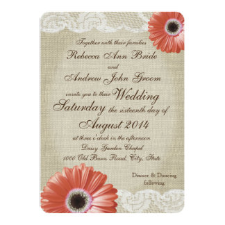 Vintage Coral Gerbera Daisy and Lace Wedding Card