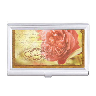 Vintage Coral Pink Rose Handwriting Ornate Frame Business Card Holder