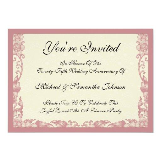 "Vintage Coral Rose Anniversary Invitations 5"" X 7"" Invitation Card"