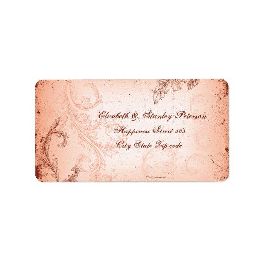 Vintage coral scroll leaf wedding label address label