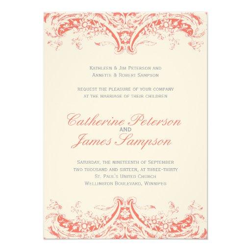 vintage coral wedding invitations 11 cm x 16 cm invitation card