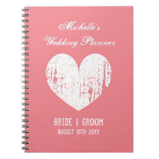 Vintage coral wedding planner organizer notebook