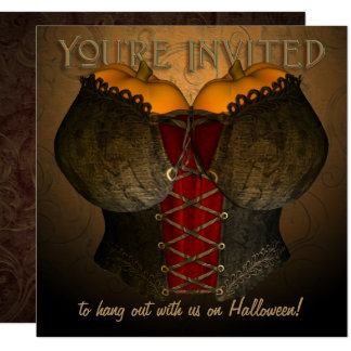 Vintage Corset Halloween Costume Party Invitation