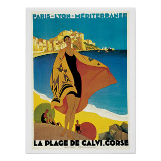 Vintage Corsica by Train Travel Ad Poster