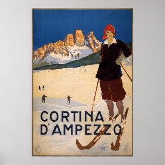 Vintage Cortina d'Ampezzo Italy Ski Travel Poster